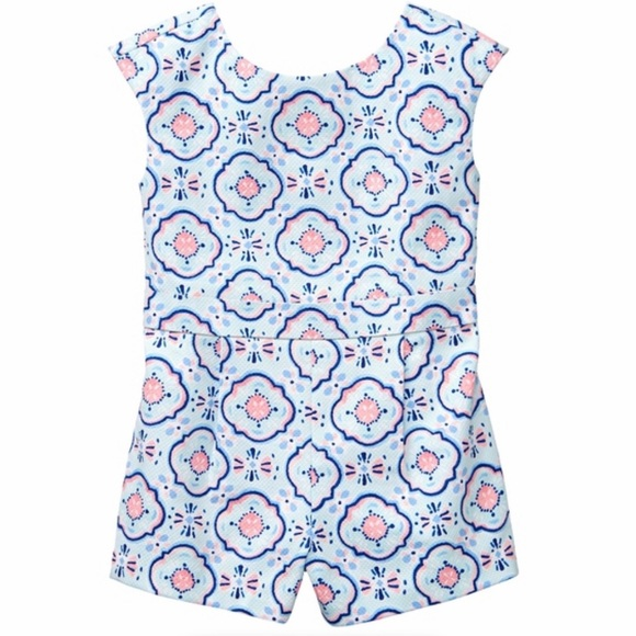 Janie and Jack Other - Jack and Janie pink and blue bow back romper.